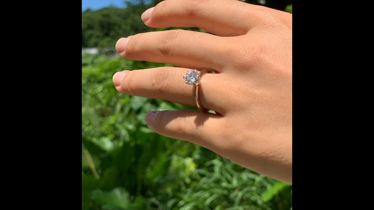 1 karátos gyémánt eljegyzési gyűrű - Tiffany - felújított